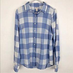 J. Crew Blue & White Plaid Button Down Shirt
